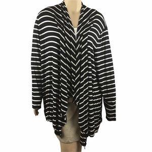 Lane Bryant Cardigan Size 26/28 Black Stripe Open Front Rayon Blend